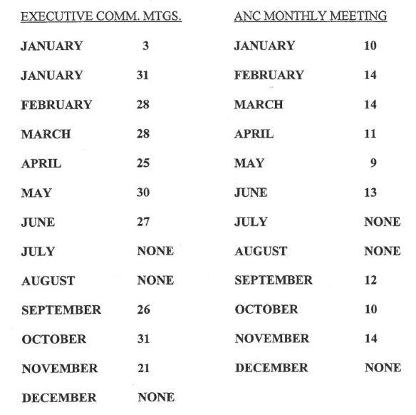 ANC 7C meeting schedule 2013