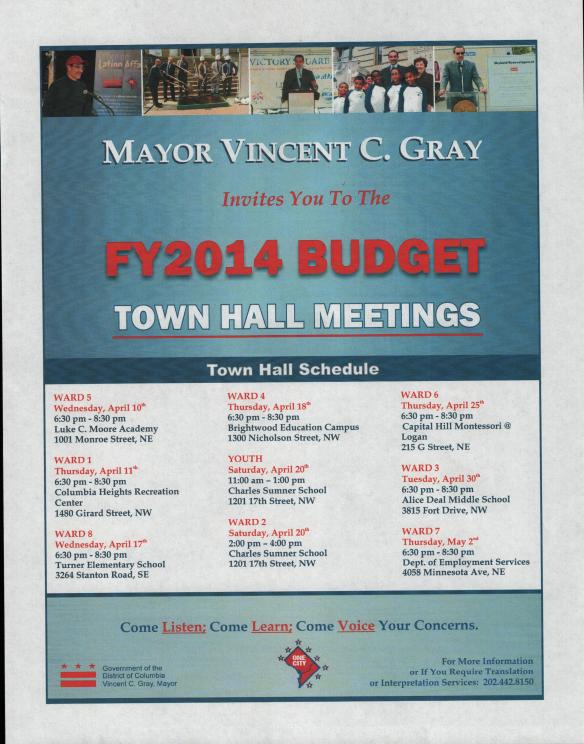 FY14 Budget Town Hall Meeting flyer