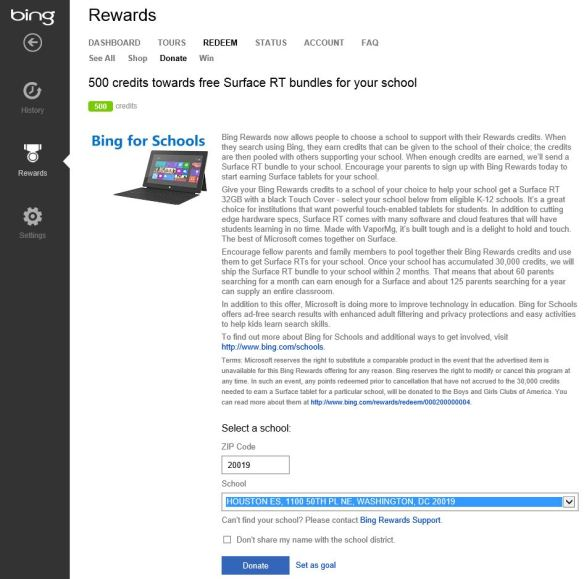Bing Rewards - Surface RT tablets for Schools