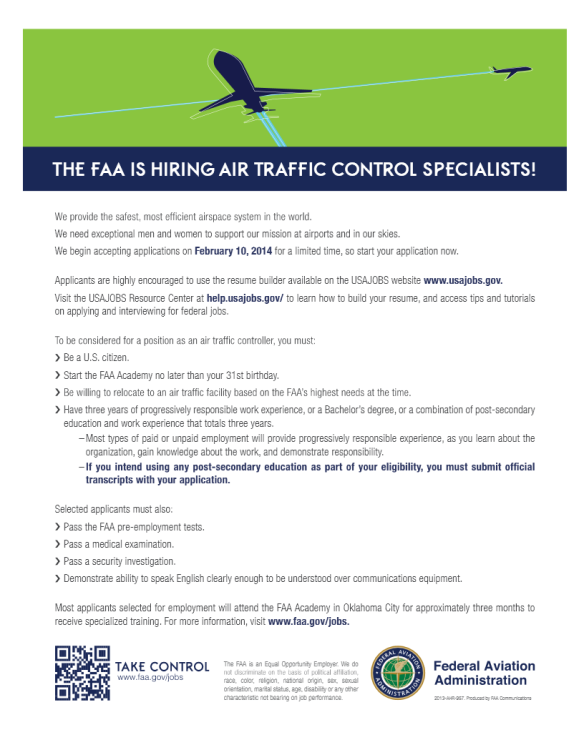 FAA Hiring Air Traffic Control Specialists